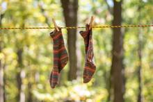 Colorful Handknit Socks Hangin...