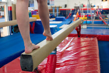 Gymnast Doing Balance Beam