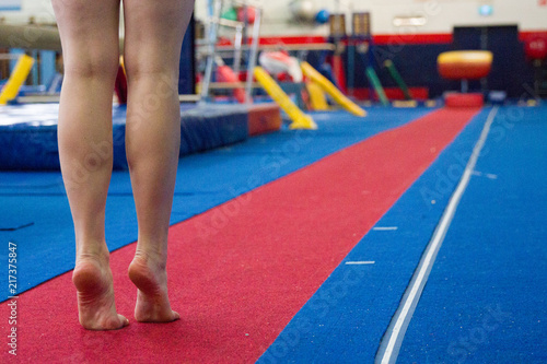 Gymnast Ready to do Vault
