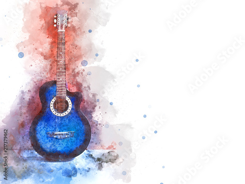 Obraz Abstract beautiful acoustic guitar in the foreground on Watercolor painting background and Digital illustration brush to art. - fototapety do salonu
