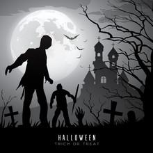 Happy Halloween Zombies On Moon And Castle Background, Vector Illustration