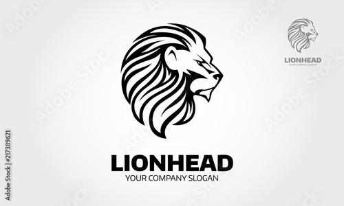 Fototapety, obrazy: Lion head logo template suitable for businesses and product names. Element for the brand identity, vector illustration, emblem design on white background.