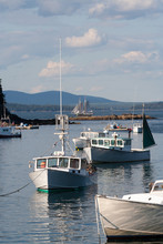 Boats Anchored In Harbor In Acadia National Park