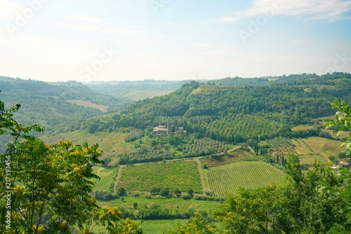 Fotobehang Wit Orvieto,Italy-July 28, 2018:View of Abbey of Saint Severo and Martirio from the cliff of Orivieto