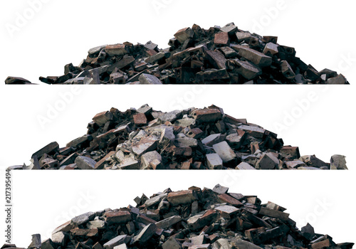 Fotografie, Obraz  Heaps of rubble and debris isolated on white 3d illustration