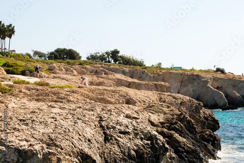 Foto op Plexiglas Cyprus Stone cliff in a beautiful blue sea Cyprus