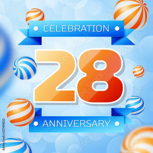 Poster  Realistic Twenty eight Years Anniversary Celebration design banner
