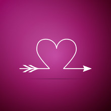 Cupid Arrow Heart, Valentines Day Cards Icon Isolated On Purple Background. Flat Design. Vector Illustration