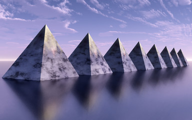 The pyramid line reflected on the surface