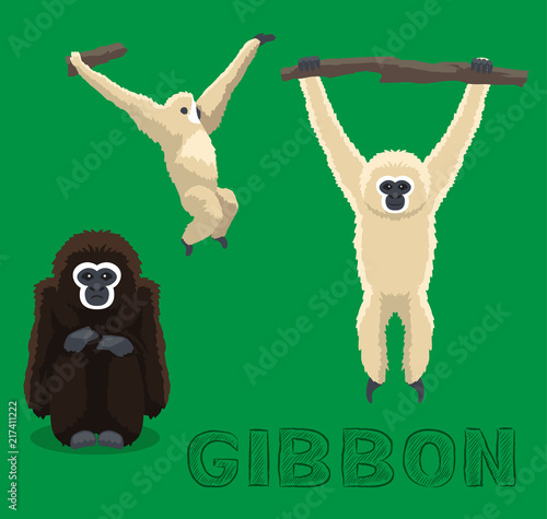 Cuadros en Lienzo Ape Gibbon Cartoon Vector Illustration