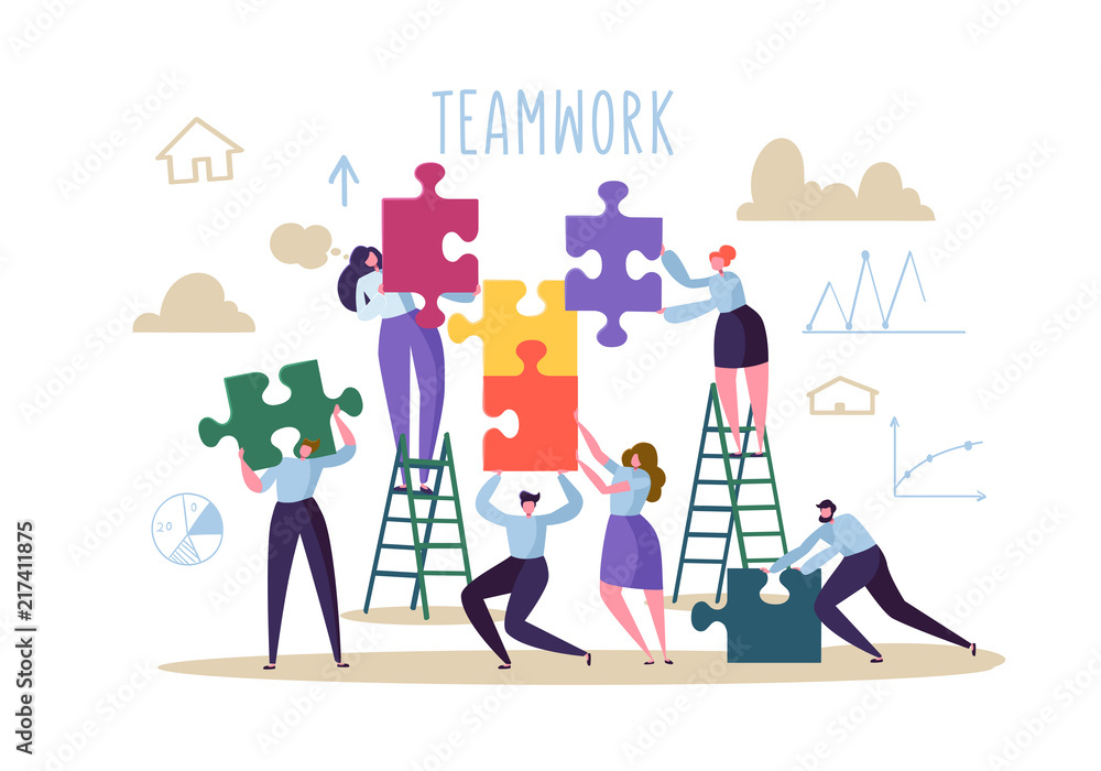 Fototapeta Business Teamwork Concept. Flat People Characters with Pieces of Puzzle. Partnership, Solution Cooperation. Vector illustration