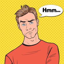 Pop Art Concerned Man Portrait. Thoughtful Worried Guy Facial Expression. Vector Illustration