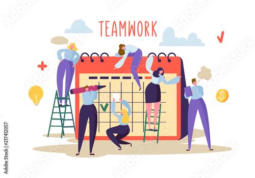 koncepcja-pracy-zespolowej-plaskie-postaci-ludzi-pracujacych-razem-i-planowanie-harmonogramu-na-biurku-w-kalendarzu-ilustracji-wektorowych