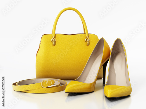 Yellow handbag, shoes and belt isolated on white background Canvas Print
