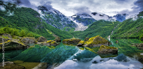 Montage in der Fensternische Skandinavien Amazing lake on a background of mountains and glacier. Norway. Beautiful landscape. Artistic picture. Beauty world. Panorama