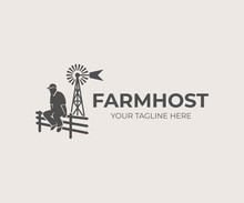Farming And Agriculture, Farmer Sitting On Fence On Background Aermotor Windmill, Logo Design. Farm And Agricultural, Vector Design And Illustration