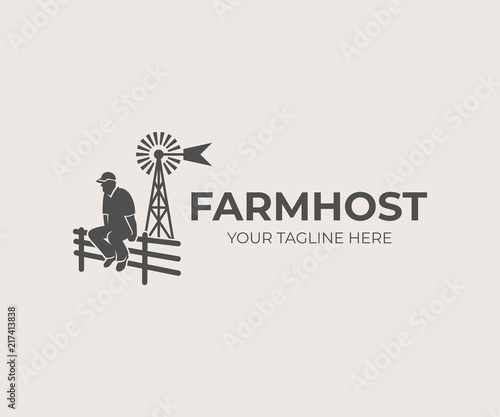 Farming and agriculture, farmer sitting on fence on background aermotor windmill, logo design Wallpaper Mural