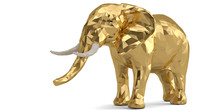 Low Poly Golden Elephant Isola...