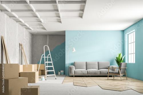 Fotografie, Obraz  Blue living room interior during renovation