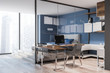 Stylish blue home office interior