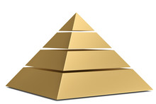 Golden Pyramid Isolated On White Background 3D Illustration.