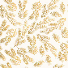 Golden Winter Pattern With Fir Branches. Decorative New Year Background.