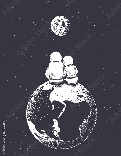 astronaut girl and boy looks to Moon from Earth Canvas Print