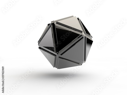Fotomural  Icosahedron chromed, steel, iron, abstract geometric shape image isolated on white background