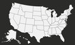 USA Vector map isolated on black background.