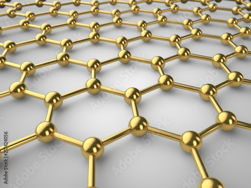Illustration of a Golden graphene crystal lattice, graphene film with depth of field. The isolated image of the material of the future on white background. 3D rendering