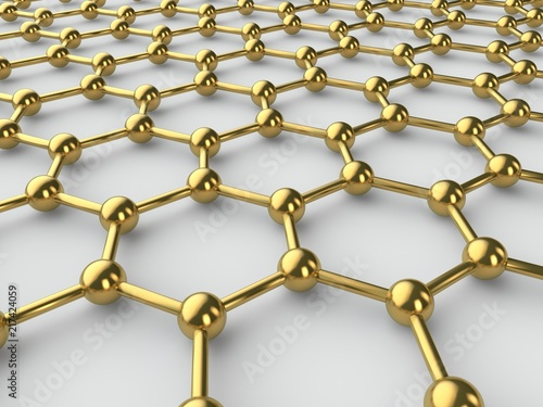 Illustration of the Golden crystal lattice of graphene, graphene film. The idea of the prospect of graphene technologies. The isolated image on a white background. 3D rendering