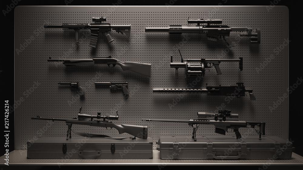 Fototapeta Black and Grey Firearms Display 3d Illustration 3d Rendering