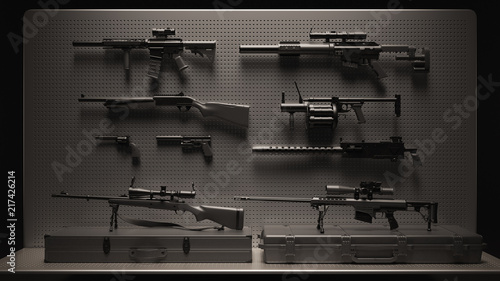 Fotografía Black and Grey Firearms Display 3d Illustration 3d Rendering