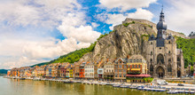 Panoramic Vew At The Embankment Of Meuse River With Houses And Church Of Our Lady Assumption In Dinant - Belgium
