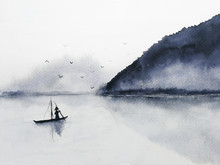 Watercolor Fishing Boat And Island With Mountains Fog Birds Flying In The Sky. Traditional Oriental. Asia Art Style