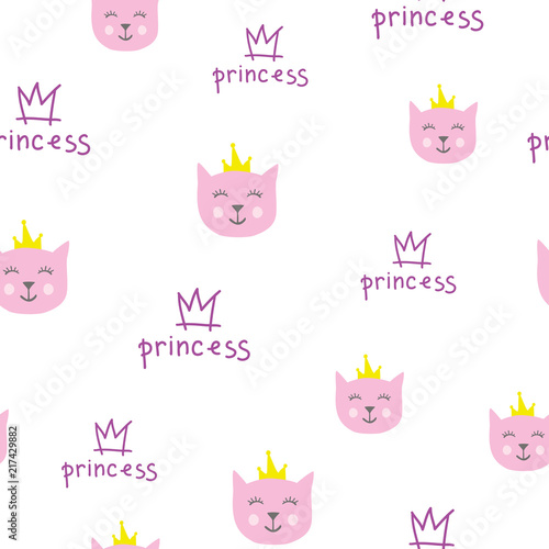 Seamless children's pattern princess cats. Creative background for fabric, textiles, wallpaper, clothing. Vector illustration for design.