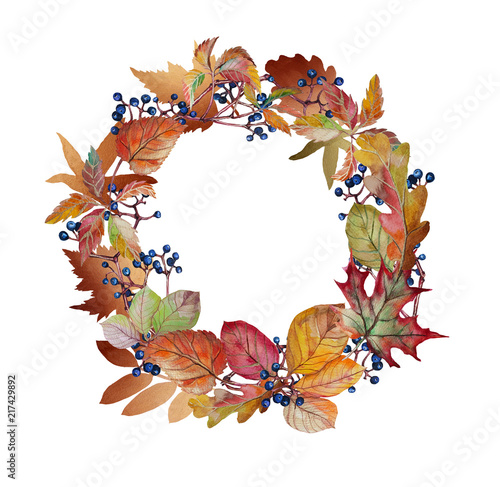 Photo sur Toile Empreintes Graphiques Watercolor autumn wreath with autumn leaves and grapes. Stock Illustration on white background