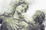 Akwarela, kobieta i dziecko greckie rzeźby na tle chmur - 217430695