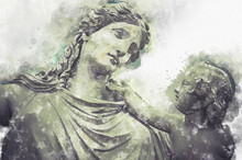 Watercolor, Woman And Child Greek Sculptures Over Clouds Background