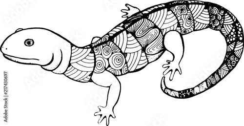 In de dag Cartoon draw lizard in the style of zentangle