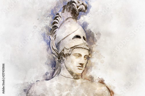 Watercolor, Statue of ancient Athens statesman Pericles Canvas Print