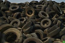 Pile Of Worn Out Tire In Desert Landfill In Mojave Desert Town Of Pahrump, Nevada, USA