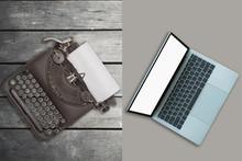 Vintage Typewriter And Laptop