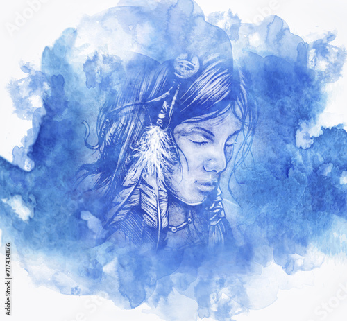 woman american indian head tattoo, Background with Watercolor banner, vector illustration