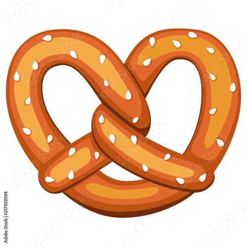 Photo Colorful cartoon pretzel with sesame seed