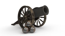 The Image Of The Ancient Cast Iron Cannon On Wheels, Cannon Firing The Nuclear Cores.The Stock Rusty Cores. The Idea Of Antiquity, The Past, Obsolete. 3D Rendering