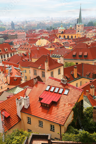 Fotobehang Centraal Europa Cityscape with red roofs in Prague, Czech Republic