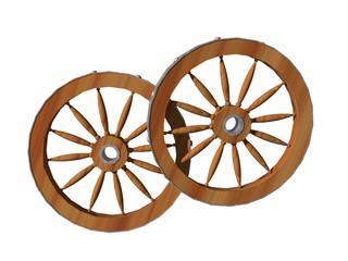 Alte hölzerne Wagenräder