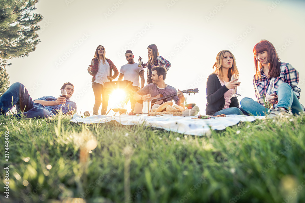Fototapety, obrazy: Friends doing picnic and grilling outdoors