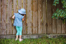 Little Prying Kid Sparkles From The Hole In The Fence In The World Outside Its Backyard. Wooden Background. Free Space